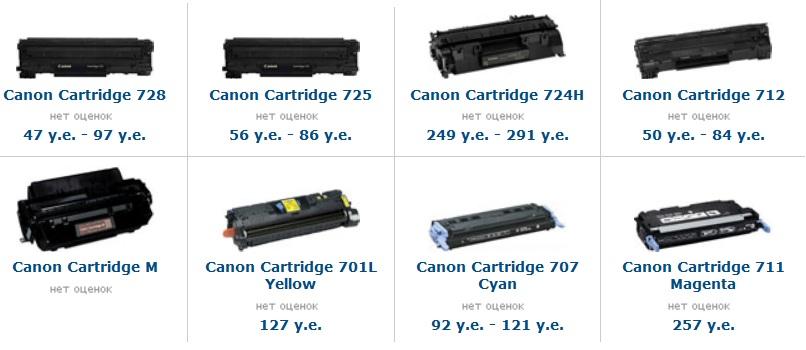 цены на новые картриджы canon